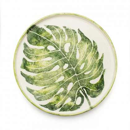 Round Tray Monstera Leaf: click to enlarge
