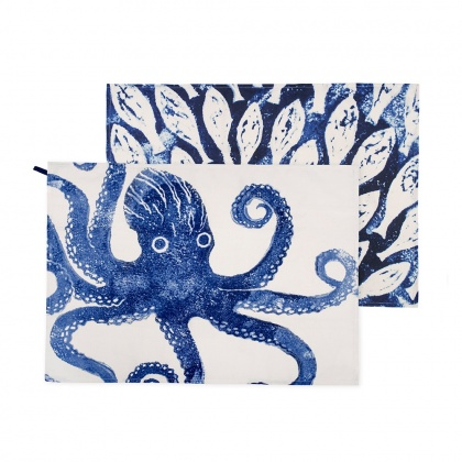 Tea Towel Set/2 - Octopus & Shoal Fish: click to enlarge